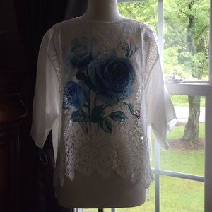 Simply Couture White with Blue Flower Top